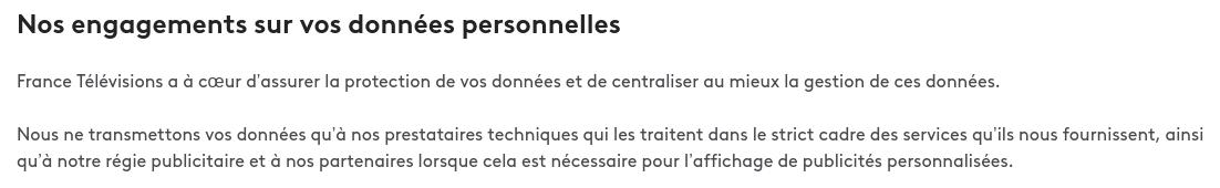 France TV données personnelles