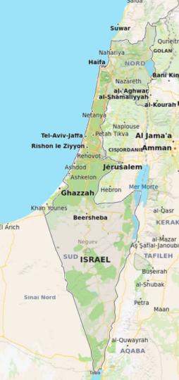 Israël vu par Bing Maps (Microsoft)